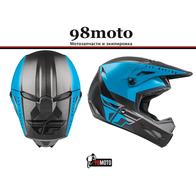 Шлем (кроссовый) FLY RACING KINETIC STRAIGHT EDGE синий/серый/черный (2021) 8500
