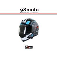 Шлем (интеграл) Ataki JK316 Route серый/голубой глянцевый 4700