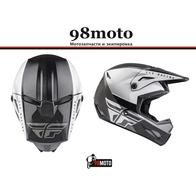 Шлем (кроссовый) FLY RACING KINETIC STRAIGHT EDGE черный/белый (2021) 8500