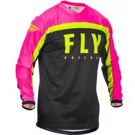 Футболка для мотокросса FLY RACING F-16 розовая/чёрная/Hi-Vis жёлтая (2020) (детская) 2000
