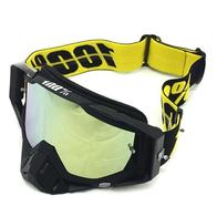 Очки 100% оправа черная, линза зеркальная-желтая, резинка силикон + запасная линза антифог 2500