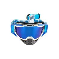 Очки 100% оправа белая, линза зеркальная-синяя, резинка силикон бирюзовая  + запасная линза антифог 2500