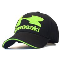 Кепка Kawasaki, черная, зеленые буквы 1000