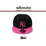 Кепка New York, черная, прямой розовый козырек. 1000