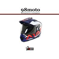 Шлем (мотард) Ataki JK802 Rampage синий/красный глянцевый 5500