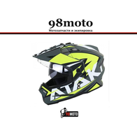 Шлем (мотард) Ataki JK802 Rampage Hi-Vis желтый/серый матовый 5500