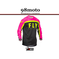 Футболка для мотокросса FLY RACING F-16 розовая/чёрная/Hi-Vis жёлтая (2020) 2500