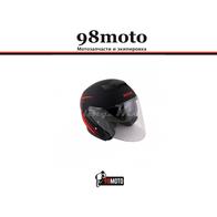 Шлем (открытый со стеклом) Ataki JK526 Stripe черный/красный матовый 3300